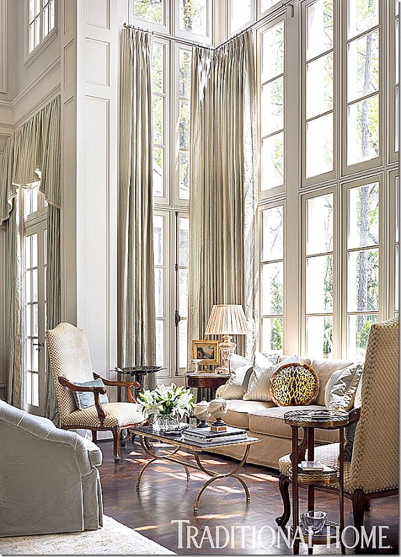 3 window treatment options for double height doors for High end curtains and window treatments